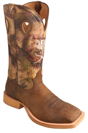 Twisted X Brown Camo Ruff Stock Cowboy Boots - Square Toe, Crazyhorse, hi-res