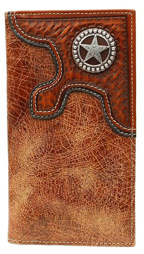 Nocona Basketweave Overlay w/ Star Concho Rodeo Wallet, Tan, hi-res