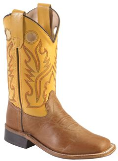 Old West Youth Tan Canyon Cowboy Boots - Square Toe, , hi-res