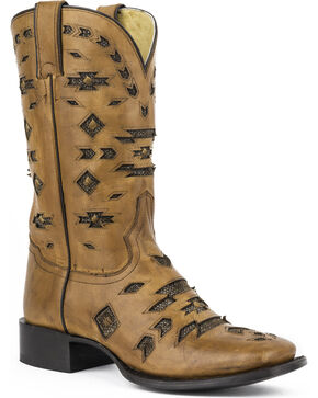 Stetson Oakley Metallic Underlay Cowgirl Boots - Square Toe, Brown, hi-res