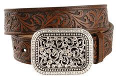 Ariat Floral Leather Belt, , hi-res