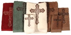 Three-Piece Embroidered Cross Bath Towel Set - Cream, , hi-res