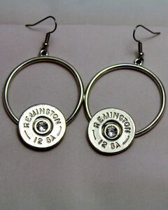 SouthLife Supply Women's Florence Circle Dangle Shotshell Earring in Traditional Silver with Crystal, Silver, hi-res