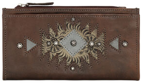 American West Women's Chestnut Foldover Snap Closure Wallet , Chestnut, hi-res