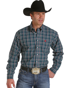 Cinch Men's Forest Green Plaid Western Shirt, Forest Green, hi-res
