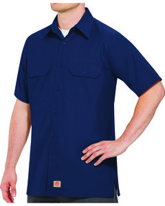 Red Kap Men's Navy Rip Stop Short Sleeve Work Shirt - Big & Tall , Navy, hi-res