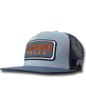 Hooey Men's Indigo Cactus Ropes Orange Patch Baseball Cap , Indigo, hi-res
