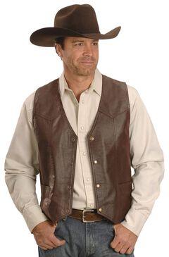 Western Yoke Genuine Leather Vest, , hi-res