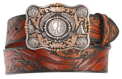 Dancing Feather Leather Western Belt, , hi-res