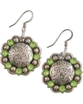 Julie Rose Filigree Concho Dangly Earrings, Green, hi-res