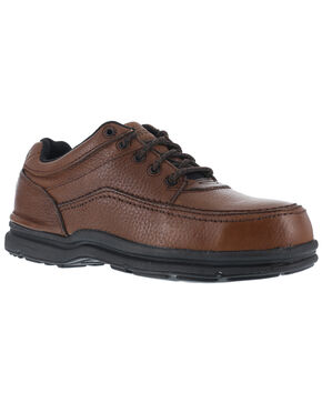 Rockport Works World Tour Casual Oxford Work Shoes - Steel Toe, Brown, hi-res