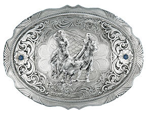 Montana Silversmiths True Blue Team Roper Portrait Western Belt Buckle, Silver, hi-res