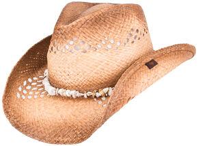 Peter Grimm Corinne Puka Shell Cowboy Hat, Tea, hi-res