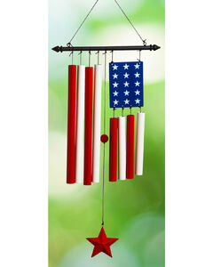 Evergreen American Flag with Red Star Windchime , , hi-res