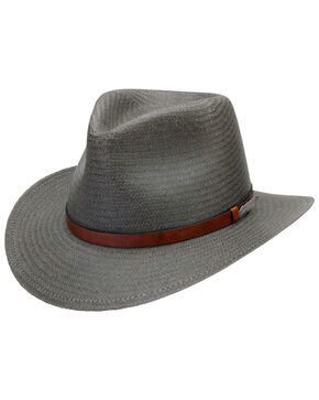 Black Creek Men's Grey Toyo Straw Hat, Grey, hi-res