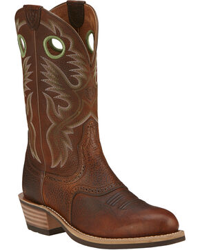 Ariat Brown Rowdy Heritage Roughstock Cowboy Boots - Round Toe, Brown, hi-res
