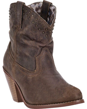 Dingo Lou Lou Short Cowgirl Boots - Round Toe, Brown, hi-res