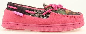 Blazin Roxx Girls' Pink & Camo Moccasin Slippers, Pink, hi-res