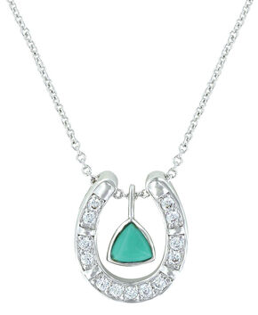 Montana Silversmiths Women's Turquoise Trillion Horseshoe Necklace , Turquoise, hi-res