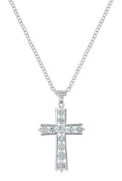 Montana Silversmiths Women's Round Brilliance Cross Necklace , , hi-res