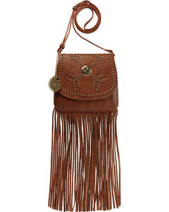 Bandana by American West Austin Brown Fringe Flap Wallet Bag , , hi-res