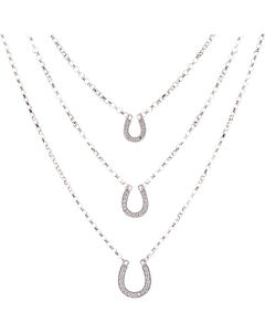 Montana Silversmiths Women's Three Tiered Horseshoe Necklace, , hi-res