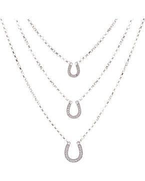 Montana Silversmiths Women's Three Tiered Horseshoe Necklace, Silver, hi-res