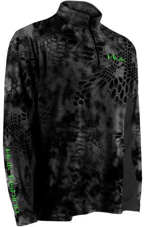 Huk Men's Grey Kryptek ICON 1/4 Zip Top , Grey, hi-res