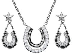 Montana Silversmiths Cubic Zirconia Horsehoe Pendant Necklace & Earrings Set, Silver, hi-res