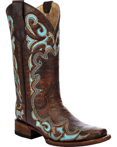 Circle G Women's Honey Embroidered Cowgirl Boots - Square Toe, , hi-res