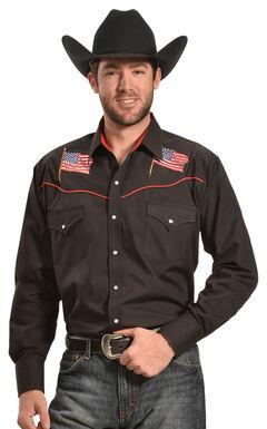 Ely Cattleman Men's Black American Flag Western Shirt , , hi-res