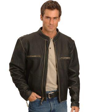 Milwaukee Motorcycle Crazy Horse Leather Jacket, Black, hi-res