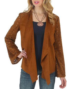 Wrangler Women's Faux Suede Knit Back Jacket, Tan, hi-res