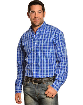Gibson Trading Co. Blue and White Plaid Long Sleeve Shirt, Blue, hi-res