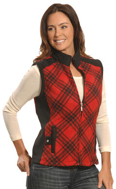 Jane Ashley Women's Red and Black Plaid Polar Fleece Vest , , hi-res