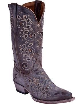 Ferrini Women's Shabby Chic Western Boots - Snip Toe, Taupe, hi-res