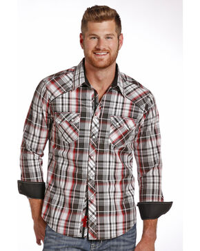 Rock & Roll Cowboy Men's Red, Black and White Plaid Snap Shirt, Red, hi-res