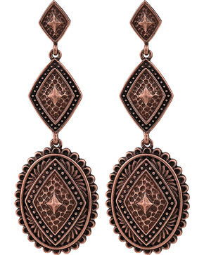 Rock 47 by Montana Silversmiths Points of Aztec Copper-Tone Pyramid View Earrings, Copper, hi-res