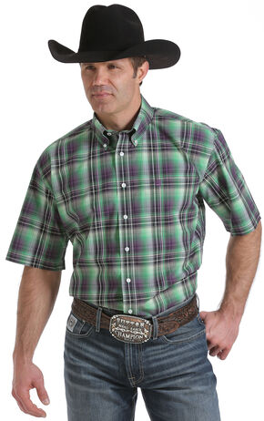 Cinch Men's Multi One Pocket Short Sleeve Plaid Shirt - Big and Tall, Multi, hi-res