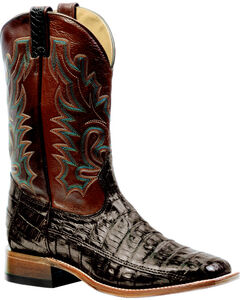 Boulet 3-Piece Chocolate Caiman Belly Boots - Square Toe, , hi-res