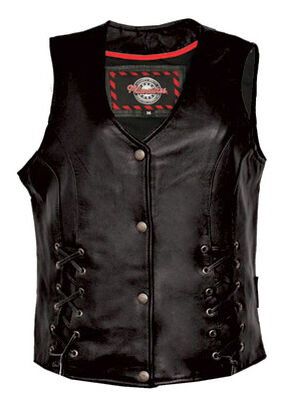 Interstate Leather Women's Dixie Vest, Black, hi-res