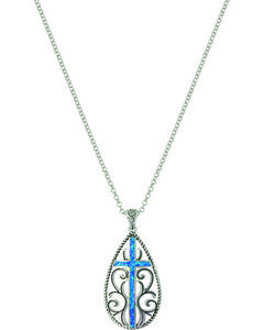 Montana Silversmiths Women's Filigree Water Lights Cross Necklace , , hi-res