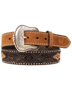 Smooth & Tooled Studded Leather Belt, Brown, hi-res