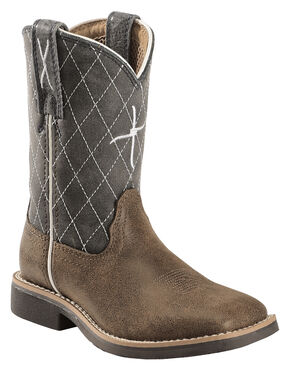 Twisted X Boys' Slate Cowkid Work Boots - Square Toe, Tan, hi-res