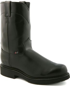 Justin JOW Uniform Pull-On Work Boots, Black, hi-res