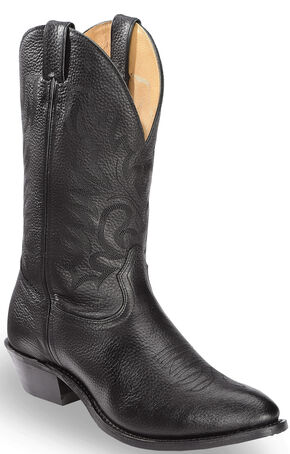 Boulet Fancy Stitched Cowboy Boots - Medium Toe, Black, hi-res