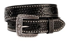 Ariat Brown Sands Studded & Embossed Leather Belt - Reg & Big, , hi-res
