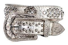 Blazin Roxx Floral Concho & Crystal Metallic Silver Leather Belt, , hi-res