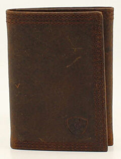 Ariat Basic Distressed Tri-Fold Wallet, , hi-res
