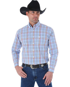 Wrangler George Strait Men's Blue and Navy Plaid Western Shirt , Blue Multi Plaid, hi-res